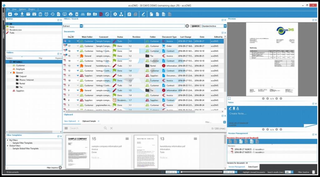 ecoDMS-Bildschirm elanor